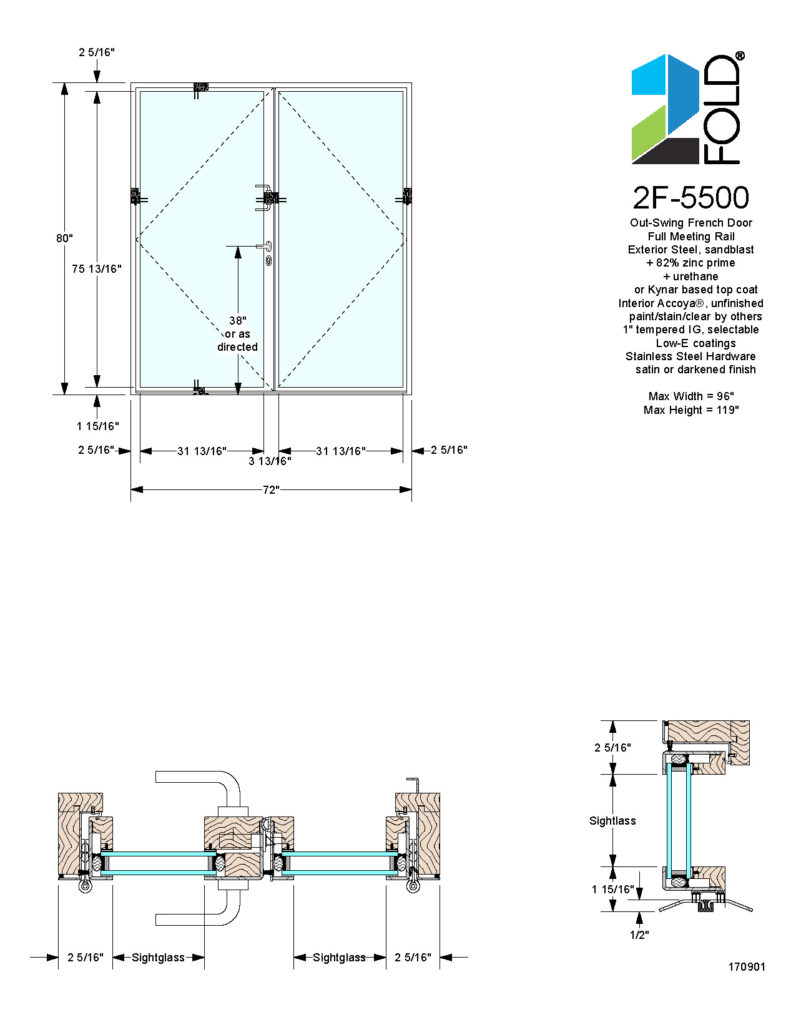 2F-5000 Out-Swing Door System: Out-Swing French Door, Full Meeting Rail