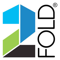 2Fold®, Logo, Green, Blue, Black, Registered, Folding Doors