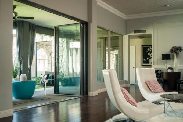 Interior great room | Open Folding Door | Three panel folding door | Bi-Folding door | Custom Steel Doors | 2Fold