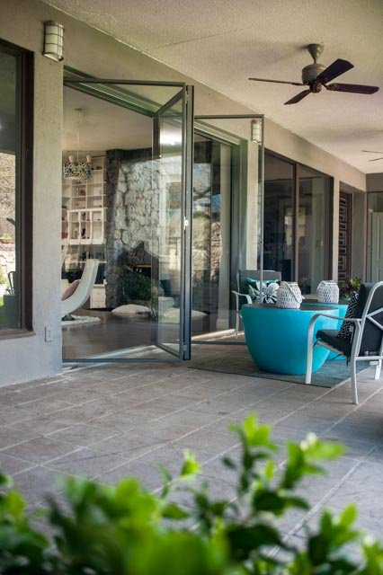 What do you call a multi-panel exterior glass door that gathers all its panels to one end or the other?