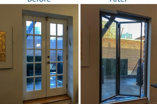 Before and After | French to folding door | Brooklyn Wood and brick opening | Steel Doors | Custom Steel Doors | Folding Doors