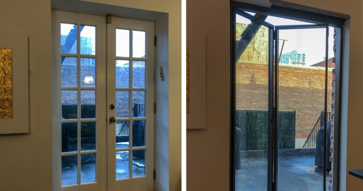 Before and After, French to folding door, Brooklyn Wood and brick opening,