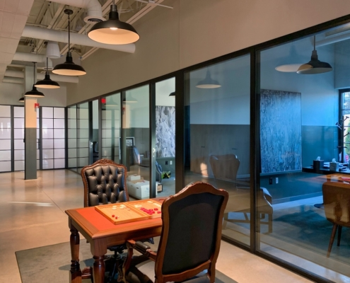 Interior, office, window wall, steel windows