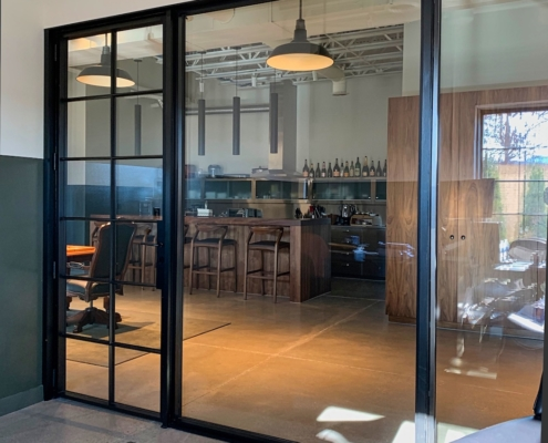 interior office, steel windows and doors, muntin grids, lockbox, fixed windows,