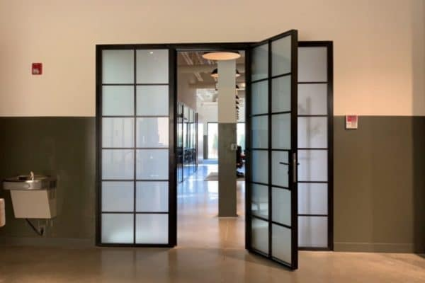 Custom Steel Doors | Steed Doors With Frosted Glass | Frosted Glass Office Entrance Doors | Swing Door With Side Lights